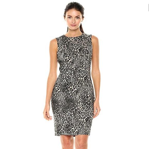 a0ec6f856eb226 Calvin Klein Dresses | Petite Sleeveless Leopard Print Dress | Poshmark